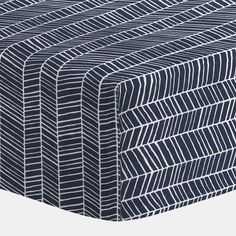 """Navy Herringbone Crib Sheet 