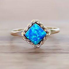 Zuni Dark Blue Opal Diamond Shape Ring || LIMITED STOCK