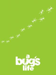 """I like this example of visual language as it shows a very simplified and unique version of the movie poster """"a bugs life"""". I also really like this poster as it plays with the gestalt theory of figure and ground well."""