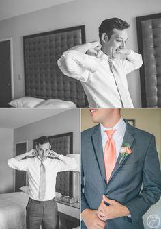 groom getting ready - grey suit, pink tie, pink boutineer - sunshine + marc // hyatt downtown st louis wedding photographers