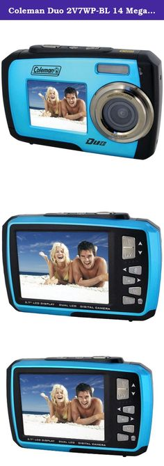 Coleman Duo 2V7WP-BL 14 Megapixel Waterproof Digital Camera with Dual LCD Screen (Blue). The new Coleman Duo camera is loads of fun and can be used for all your outdoor needs. It features an extra front view LCD so that you can capture all of those precious moments with family and friends. It is also waterproof and shock resistant for all your fun outdoor activities. 14.0 Mega Pixels Max Resolution Waterproof up to 10 ft - no additional case needed! Large 2.7 Inch back LCD screen Also...