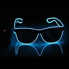 Chic Black Blue LED Glasses with Controllers for Parties Night Clubs