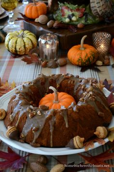 Pumpkin-chocolate harvest cake with bourbon-pecan glaze