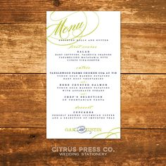 #Wedding #Menu #Long  by CitrusPressCo
