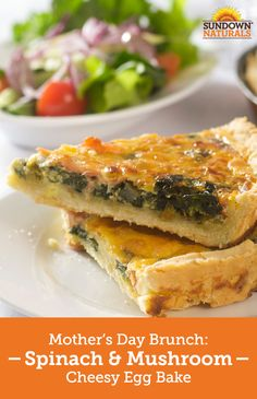 Make this Mother's Day the best ever with this yummy Spinach & Mushroom Cheesy Egg Bake! This egg-based casserole is gluten-free, packed with hearty veggies and infused with melted cheese, making it the perfect choice for breakfast or brunch. You'll love how easy it is to make, and Mom will love getting in some nutrition-packed eggs and veggies on her special day, to fuel her for the festivities ahead! Happy Mother's Day!