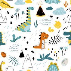 Dinosaur Illustration, Pattern Illustration, Scandinavian Style, Kids Patterns, Print Patterns, Vector Pattern, Pattern Design, Cat Paw Print, Cute Dinosaur