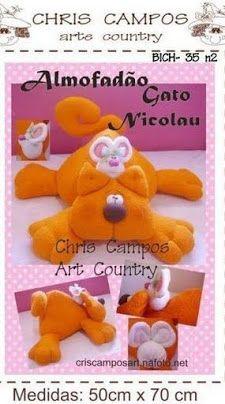 Luna Clara: Almohadones infantiles (con moldes) / red cat + white mouse <> FREE pattern
