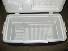 Use racks and bins in cooler to keep food out of melting ice water. Why did I never think of this?