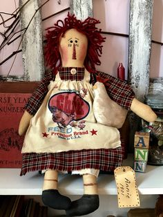 Primitive Raggedy Ann doll farm house homespun with Chicken HEN ornie Primitive Crafts, Primitive Doll, Ann Doll, Raggedy Ann And Andy, Feed Sacks, Bear Doll, Red Plaid, Doll Patterns, Country
