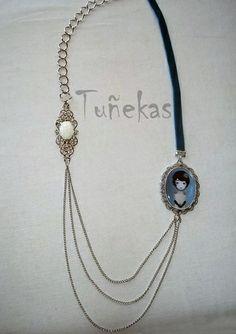 Collar cadenas y lazo terciopelo Tuñeka Charleston de Tuñekas por DaWanda.com