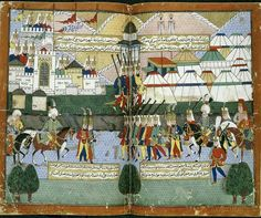 "Lala Mustafa Paşa's Ottoman army parading before the walls of Tiflis (Tiflis) in August 1578 after the city had been evacuated by Da' ud Khan. A double-page miniature painting from a 16th-century Ottoman manuscript Nusretname (""The Book of Victories"" by Gelibolulu Mustafa Ali).The British Library, London, Great Britain."