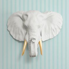 The Savannah in White + Gold Tusk- Faux Elephant Head - Fauxidermy Ceramic Fake Taxidermy Decorative Animal Resin Plastic Wall Mount Decor