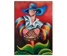 Original Oil Painting on Stretched Canvas, Blue Hat, Cuban Art, Ready to Hang, Custom Handmade order Painting Frames, Painting Prints, Art Paintings, Art Prints, Artist Canvas, Canvas Artwork, Cuban Art, Wood Bars, Wrapped Canvas