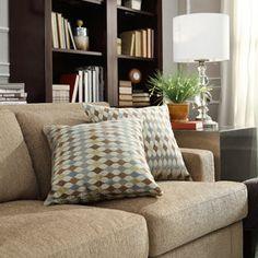 Kayla Geometric Print Fabric Square Throw Pillows (Set of 2)