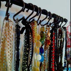 Towel rod + shower curtain hangers = jewelry holder!!!