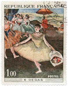 Vintage French Ephemera Degas Postage Stamp – Click for printable artwork @ Vintage Fangirl