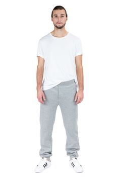 Men's Grey Fleece Jogger Sweatpants with Drawstring waist and zip side pockets. Simple and swag for gym or casual outfit. Perfect for jogging in fall and winter.