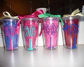 South Carolina Palmetto Tree & Moon Monogrammed Acrylic Cups. $12.50, via Etsy.