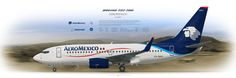 Boeing 737-700 AeroMexico XA-MAH | Airliner Profile Art Prints www.aviaposter.com | #airliners #aviation #jetliner #airplane #pilot #airline #aviationlovers #avgeek #jet #boeing #b737 #aeromexico