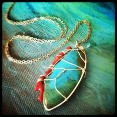 Turquoise, Red Coral and Aquamarine wrapped in Gold Vermeil. Necklace by Gypsy Lotus Jewelry on Etsy, $48.00