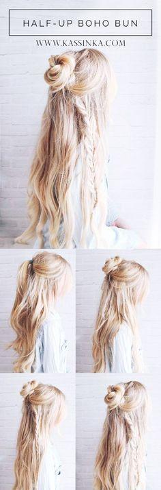 Half up Boho Bun ||| Gorgeous-Wedding-Hairstyles-For-Long-Hair || Wedding Hairstyles || Unique Hairstyles for Weddings