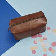 Usher Leather Wash Bag - wedding thank you gifts