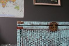 paint a yard sale wicker trunk a fun color for something different