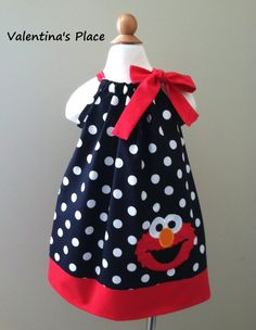 Sesame Street's Elmo in pillowcase dress by Valentinasplace Elmo, Pillowcase Dresses, Baby Sewing, Motto, Pillow Cases, Babies, Pillows, Trending Outfits, Handmade Gifts