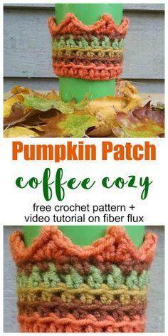 Pumpkin Patch Coffee Cozy, free crochet pattern + full video tutorial on Fiber Flux Crochet Coffee Cozy, Coffee Cup Cozy, Crochet Cozy, Crochet Mittens, Crochet Crafts, Crochet Projects, Free Crochet, Crochet Fall, Tea Cozy