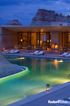 Deep in the desert canyons of Utah, Amangiri is a luxe resort that embraces the surrounding environment with a pool that's ingeniously built around a large, natural rock formation. Swimmers can float around the main Pavilion Romantic Vacations, Romantic Getaways, Dream Vacations, Romantic Destinations, Romantic Travel, Oh The Places You'll Go, Places To Travel, Places To Visit, Vacation Destinations