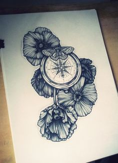 i like the poppies. maybe do a pocket watch instead of the compass!