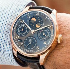 IWC Portugieser Perpetual Calendar in Rose Gold. Elegant Watches, Stylish Watches, Casual Watches, Luxury Watches For Men, Amazing Watches, Beautiful Watches, Cool Watches, Audemars Piguet, Patek Philippe