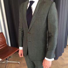 Green linen/wool wedding suit