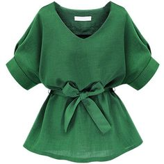 Choies Green V Neck Bow Tie Short Sleeve Blouse