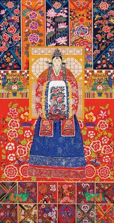 대한민국민화공모대전 - 김종관 - 미인도 Korean Illustration, Illustration Art, Korean Art, Asian Art, Korean Traditional, Traditional Art, Korean Tattoos, Korean Painting, Korean Design