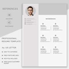 Resume template instant download Professional resume | Etsy