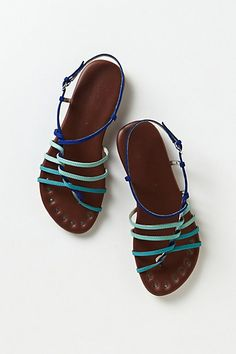 Latitudes Strappy Sandals #anthropologie in Mint.  Love the colour, not quite sure if the thin straps would rub, pretty pricey. 158 dollars.