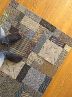 a rug made from many different carpet samples