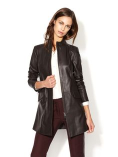 Leather Seamed Coat by Emporio Armani