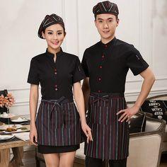 Summer Waitress Workwear Women Men Hotel Restaurant Waiter Uniforms Short Sleeve Fast Food Waiter Uniform Suit Top+Apron 18