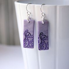 Purple Polymer Clay Earrings with White Stamped Swirls, Handmade Jewelry, Wearable Art