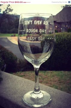 5 Rough Day Wine Glasses Personalized Wine by EtchedExpressions, $54.00