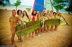 Unbridled freedom: Some of the nine adventurous couples who made their wedding day one to remember as they exchanged vows au naturel in Negril, Jamaica on Valentine's Day Hedonism Resort, Wedding Ceremony, Wedding Day, Jamaica Travel, Wedding Humor, Wedding Pictures, Vows, Caribbean, Wedding Photography