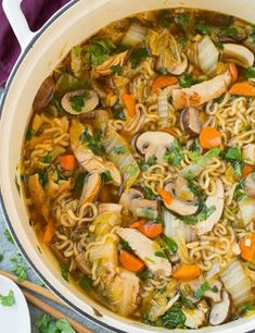 Asian Chicken Noodle Soup - Cooking Classy The best time of year, soup season! Really I love every season, each one has things I love about them (although with winter, I wish it would just snow Asian Chicken Noodle Soup, Chicken Soup, Thai Chicken, Chicken Noodle Soup Rotisserie, Thai Noodle Soups, Noodle Noodle, Chicken Noodles, Noodle Salad, Boneless Chicken