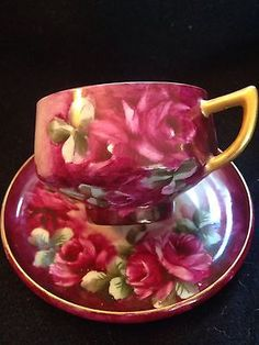 Lovely Handpainted Signed Deep Red Roses Limoges Tea Cup and Saucer