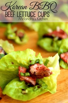 Korean BBQ Beef is one of the most delicious foods I have ever had.  It is the perfect filling for the lettuce cups.  We eat these for lunch or serve as appetizers at parties.  Everybody loves them and they don't fill you up too much for dinner.   Serve them with a little sweet chili sauce if you want a little something spicy!