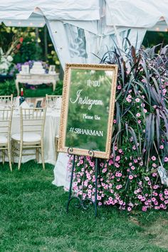 Instagram sign written on an antique mirror—such an elegant touch! {Photo by Pasha Belman via Project Wedding}