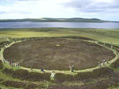 The Ring of Brodgar (or Brogar, or Ring o' Brodgar), Neolithic henge and stone circle. Orkney Islands, Scotland.