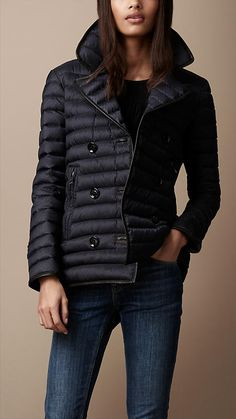 Leather Trim Quilted Pea Coat | Burberry