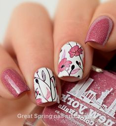 20 große Spring Nail Designs 2019 - only nails Flower Nail Designs, Flower Nail Art, Nail Designs Spring, Nail Art Designs, Spring Nail Art, Spring Nails, Summer Toenails, Cute Nails, Pretty Nails